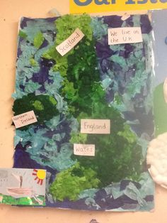 Group craft- tissue paper and pva glue map of the UK.