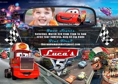 Personalize Cars Invitation, Mack Truck Party, Lightning McQueen Invite