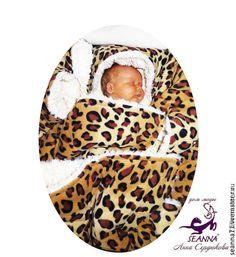 """Купить Одеяло мягкое двустороннее для новорожденных """"Леопардово-меховое"""" - бежевый, одеяло, детское одеяло"""
