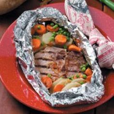 Dinner in a Packet Recipe Main Dishes with pork loin chops, potatoes, carrots, frozen peas, onion soup mix
