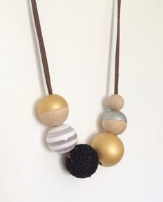 Modern Handpainted Wooden Bead Necklace Gold by MyLittleUsagi, $20.00