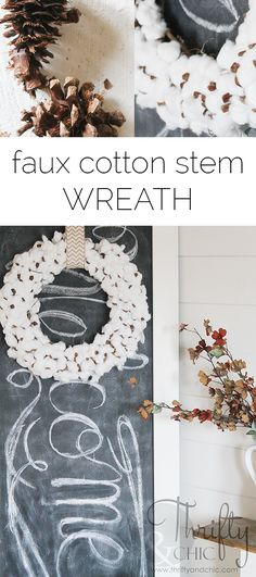How to make a cotton stem wreath for only a couple dollars! (Hang it with burlap canvas & basket idea) Seasonal Decor, Fall Decor, Cotton Crafts, Cotton Decor, Cotton Wreath, Farmhouse Decor, Farmhouse Style, French Farmhouse, Farmhouse Ideas