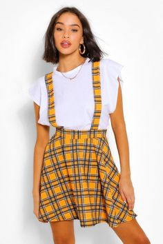 Maxis, Yellow Plaid Skirt, Yellow Skirts, Yellow Clothes, Yellow Outfits, Dungaree Skirt, Square Skirt, Flippy Skirts, Overall Skirt