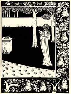 La Beale Isoud at Joyous Gard Aubrey Beardsley. Beardsley's work shows influence from traditional Japanese art. But with peices like this, I can see influence from medieval art. The decorative frames and shapeless/figureless bodies Art Nouveau, Japanese Woodcut, Japanese Art, Aubrey Beardsley, Art Japonais, Fairytale Art, Design Graphique, Gustav Klimt, William Morris