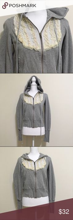 """Free People Full Zip Hoodie Gray with Lace Design Super comfy hoodie featuring a feminine Lace design. 100% Cotton. Medium (8-10). Bust 37-38"""", Waist 29-30"""". Length 20"""". Hoodie is in good, pre-owned condition. Free People Tops Sweatshirts & Hoodies"""