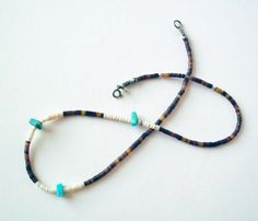 Vintage Brown Heishi Puka Shell Necklace with Turquoise by PoorLittleRobin, $8.00