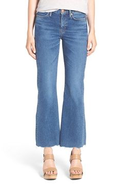 M.i.h. Jeans 'Lou' Raw Hem Crop Flare Jeans (Blue Fade)