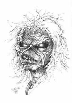 Scary Tattoos, Head Tattoos, Skull Tattoos, Dark Art Drawings, Drawing Sketches, Arte Pink Floyd, Iron Maiden Posters, Iron Maiden Albums, Eddie The Head