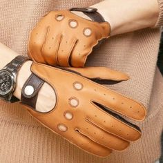 Brown rough leather gloves