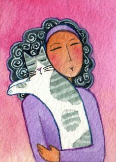 Cat Lady and Gray Spotted Kitty Original Cat Lady ACEO Art Watercolor Painting by Susan Faye, SusanFayePetProjects on Etsy, $15.00