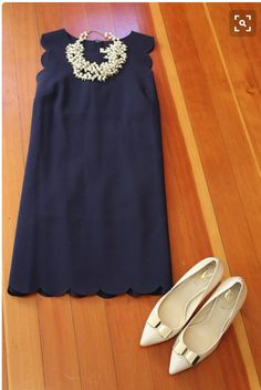 Spring 2016 stitch fix navy blue scallop edge dress with pearl necklace. Pointed flats with bow detail