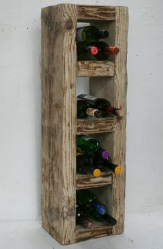94 cm high, 21 cm deep, 28 cm wide Can make to order in any size, colour or finish This one is natural wood can be wall mounted Wine Rack Bar, Rustic Wine Racks, Contemporary Wine Racks, Rustic Contemporary, Wine Shelves, Wine Storage, Wine Tasting Notes, Homemade Wine, Wine Case