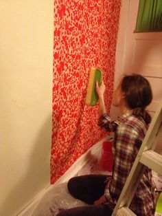 Here I am, making the wall nice and smooth.
