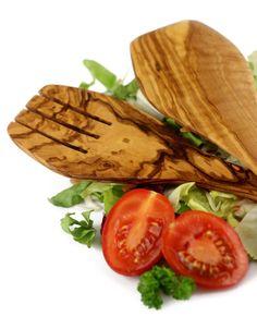 "Salatbesteck ""Karthago"" aus Olivenholz 30 cm | treevoli"