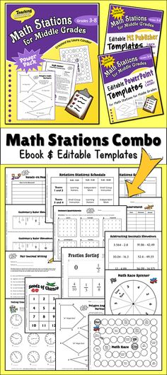 Math Stations Made Easy! This combo includes Math Stations for Middle Grades (grades 3 - 6), as well as editable templates in both PowerPoint and Publisher format. $