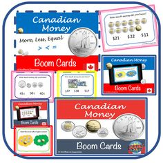 """""""Canadian Money"""" Interactive internet activity - Boom Task Cards (28 cards) Ideas for teaching financial literacy; Financial literacy elementary Ontario #ontario #financialliteracy #canadianmoney #boomcards #internetactivities Canadian Coins, Canadian History, Teaching Resources, Teaching Ideas, Ontario Curriculum, Thing 1, Financial Literacy, Cloud Based, School Classroom"""