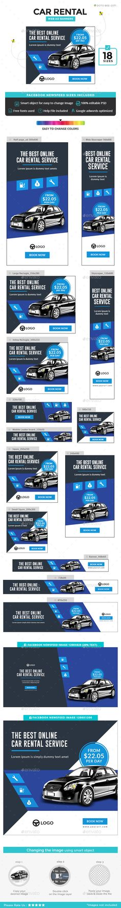 Car Rental Banners - #Banners & Ads Web #Elements Download here: https://graphicriver.net/item/car-rental-banners/20056332?ref=alena994