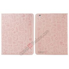 Fashionable Cute cartoon pattern Leather Case for iPad Air - Pink US$15.99