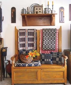 Old Country Bench & Coverlets...love everything in this setting!