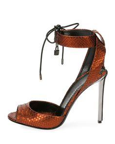 1b8b0da9634 Tom Ford Metallic Python 105mm Padlock Sandal Metallic Shoes