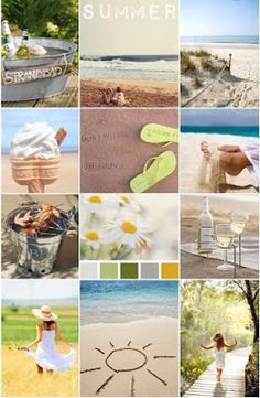 I'm going to make my own collage for each season. How fun! I'll be able to put it in a photo album for each year Hello Summer, Summer Of Love, Summer Fun, Summer Time, Summer Days, Collages, Color Collage, Summer Feeling, Colour Schemes