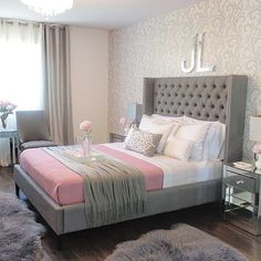 Gray master bedroom with pink accents.  Liana @viva_lila Instagram photos | Websta bed from www.structube.com
