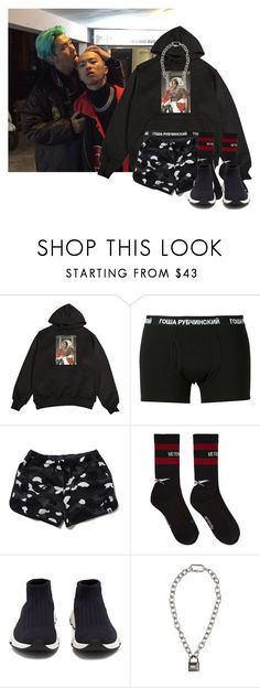 """""""11:09 pm    my heart can't take this damage"""" by baobaei ❤ liked on Polyvore featuring Gosha Rubchinskiy, Vetements, Balenciaga and Hood by Air"""