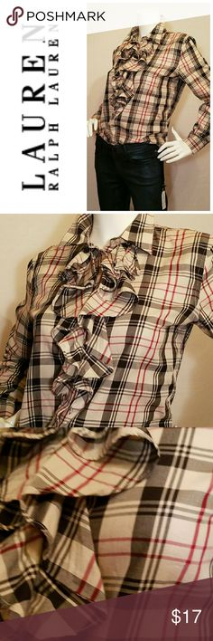 Ralph Lauren Button Down Lauren by Ralph Lauren plaid button down with ruffle front detail.  Great classic plaid colors perfect for any season.  Excellent condition. Lauren Ralph Lauren Tops Button Down Shirts