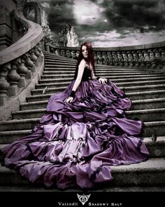 If your dress has a cathedral length train made of purple satin trimmed with black lace and the ad for it is exceptionally emo, you might regret wearing it. Oscar Dresses, Emo Dresses, Dressy Dresses, Purple Love, All Things Purple, Prom Photos, Purple Satin, Depth Of Field, Boho Outfits