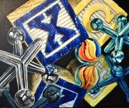 Double Play Blocks, Jacks and Marbles Original Acrylic Painting by Michelle C. Watercolor Paintings For Sale, Watercolor Art, Double Play, Ap Studio Art, Acrylic Painting Lessons, Classroom Projects, Mark Making, Art Portfolio, Marbles