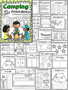 Camping Kindergarten Math & Literacy Printables – Top Of The World Math Literacy, Kindergarten Worksheets, Teaching Vocabulary, Camping Activities, Camping Crafts, Reading Activities, School Themes, Classroom Themes, Camping Desserts