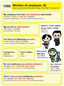 Easy to Learn Korean 1392 - Employee, member (part two).