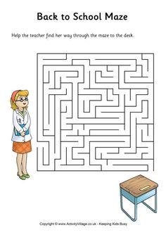 Back to school maze - medium pdf link