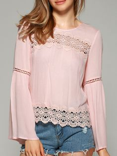 Sweet Bell Sleeve Hollow Out Blouse