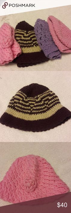 HAND MADE HATS  FOUR  EACH. HAND MADE HATS.  Four each different colors  ,pretty , soft  and warm  hats. I knitted  that. Other
