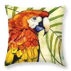 Throw Pillow featuring the painting Scarlet by Lyse Anthony