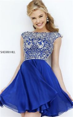 2016 Navy Cocktail Dress Short Sleeved Jeweled Boat Neck Sherri Hill 32320 [Navy Sherri Hill 32320] – $198.00 : 2016 Prom Dress Outlet Shop,Fashion Graduation Gowns in Cheap Price