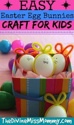 Easy Easter Egg Bunnies Craft for Kids ~ Simple and Fun to Make