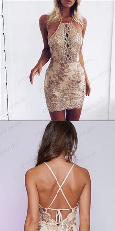 Sexy Backless Gold Lace Applique Homecoming Dresses With Beading,Short Prom Dresses on Luulla Junior Prom Dresses Short, Unique Homecoming Dresses, Short Prom, Homecoming Outfits, Cute Short Dresses, Homecoming Ideas, Ribbed Knit Dress, Tight Dresses, Ladies Dress Design