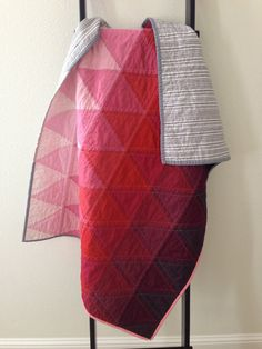 Modern Pink Ombre Triangle Quilt by littlecolleydesign on Etsy