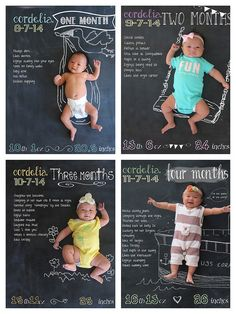 Chalkboard Baby Monthly Photos  http://lisadabbles.blogspot.com/2014/11/diy-monthly-chalkboard-background.html