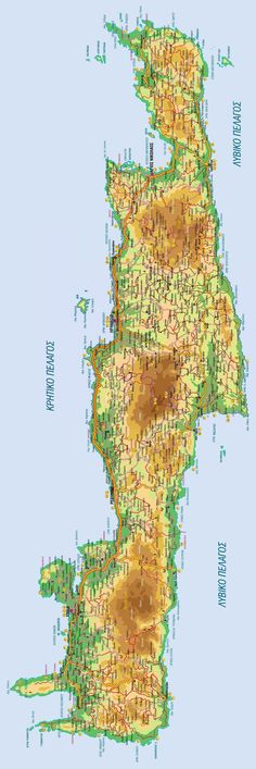 Map of Crete with mountains and roads - Crete Greece