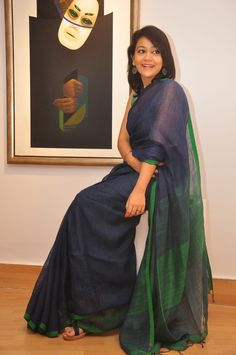 LINEN MOCKLINO SAREE (BLUE)