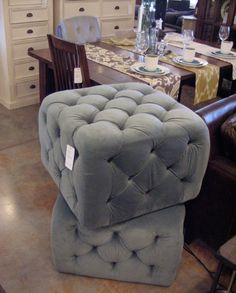 Button Tufted Blue-Grey Ottoman from Urban Barn
