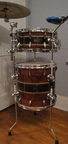 Beyond beautiful Addiction Drum Design Bubinga, Wenge and Maple Cocktail Kit, Built for Eddie Fischer of OneRepublic