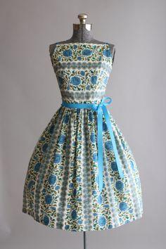 Vintage 50er Jahre Kleid / 50er Jahre Kleid Baumwolle / blau