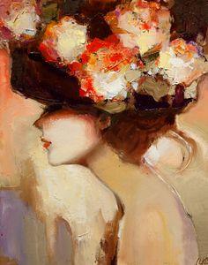 красиво, цвета, цветы, шляпа, леди
