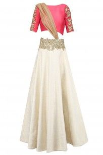 Off White Quilted Floral Work Lehenga with Red Blouse and Attached Dupatta