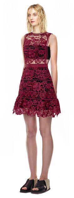Lace Peplum Mini Dress in Burgundy
