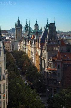 Czechia, Prague, along Parizska street, Houses and Towers of Townhall and St Nicholas Church